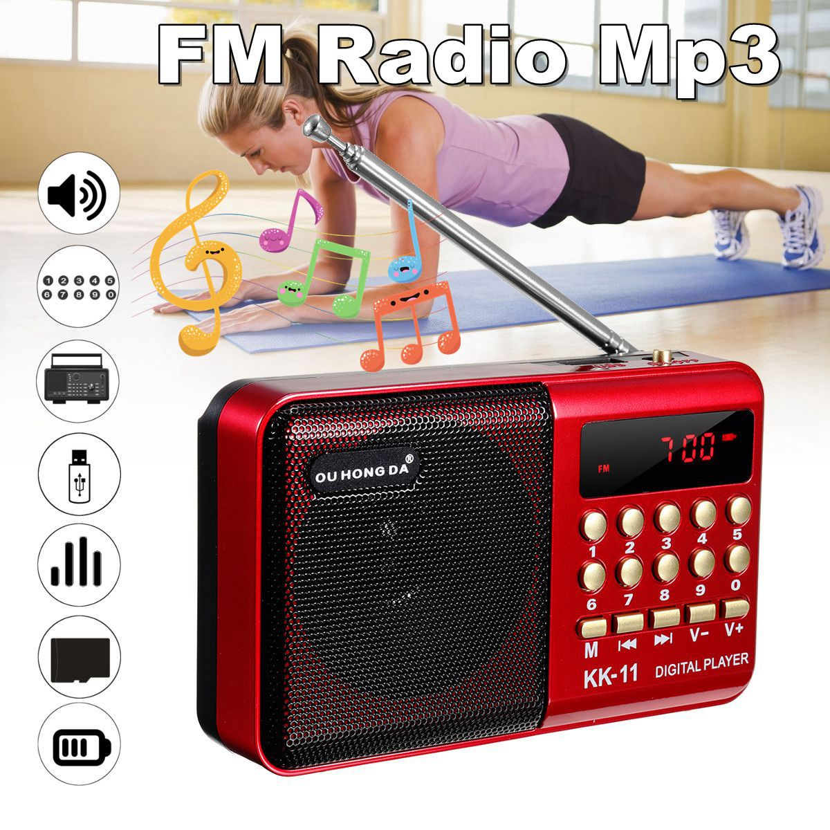 Mini Portable Radio Handheld Digital FM USB TF MP3 Player font b Speaker b font Rechargeable