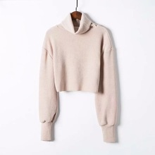 New Fashion Women Long Sleeve Knitted Pullovers Casual Turtleneck Crop Tops Autumn Winter Basic Solid Sweater