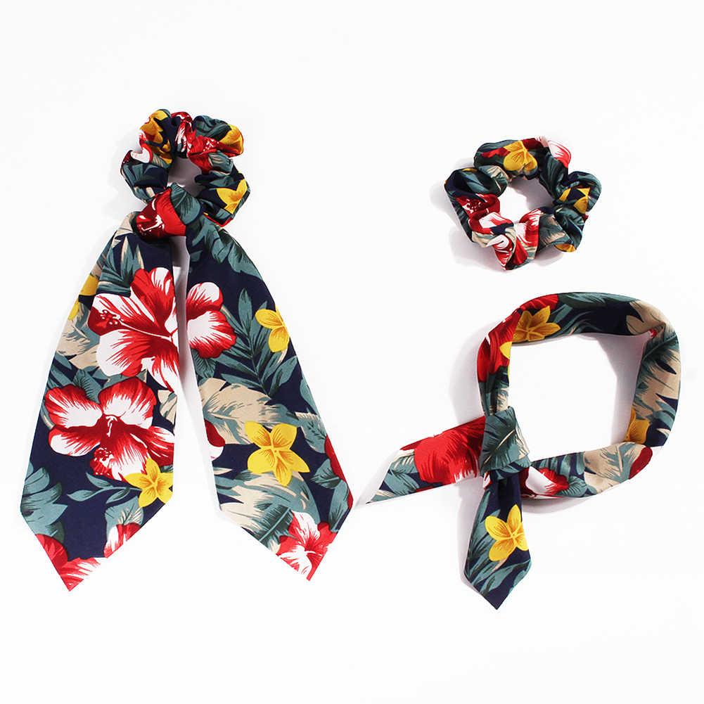 Bufanda de cola de caballo de verano a la moda cuerda elástica para el cabello de las mujeres corbatas de moño