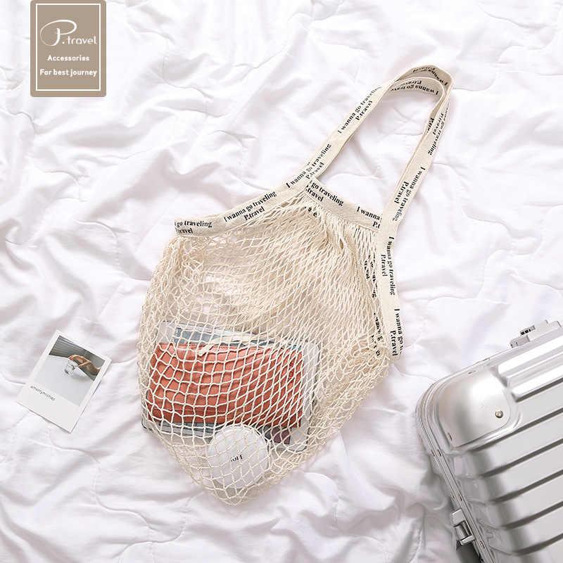 5ad0301f2e01 Бесплатная доставка Новый 1 шт. многоразовые сумка для покупок, чистого  хлопка сетки сумочку.