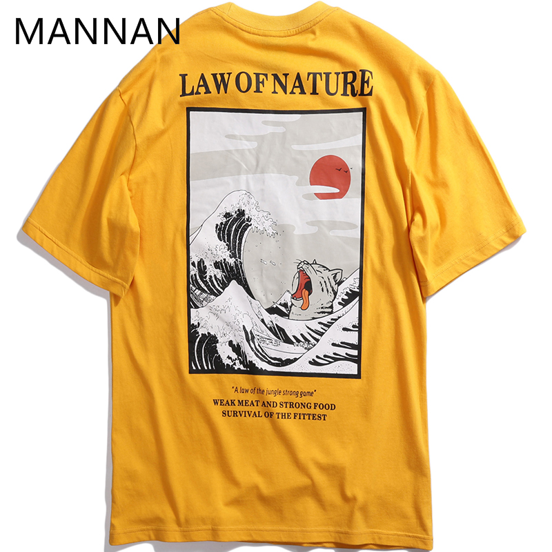 MANNAN Men   T     Shirt   Homme Harajuku Modis 3d Off White Tshirt Japanese Embroidery Funny Cat   T  -  Shirt   Cotton Hip Hop Camise