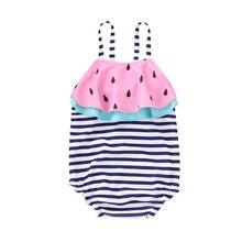 Summer Sweet Toddler Kid Baby Girl Stripe Watermelon Printed One-Piece Suits Swimsuit Bikini Swimwear Bathing Suit Beachwear
