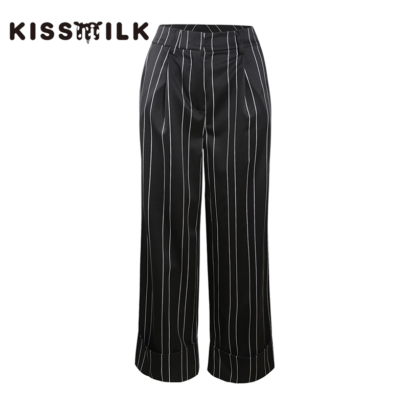 Kissmilk Plus size simple commute slimming   leg   length loose casual striped   wide     leg     pants   without belt