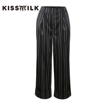 Kissmilk Plus size simple commute slimming leg length loose casual striped wide leg pants without belt недорого