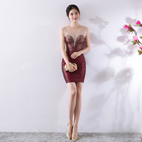 Fashion Scoop Neck Gradient Sequin Mini Vestidos De Festa Sexy See Through Beading Short Mermaid Cocktail Dresses Party Gowns
