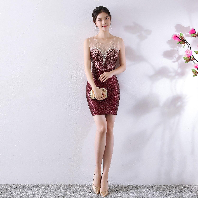 Mode Scoop cou dégradé Sequin Mini Vestidos De Festa Sexy voir à travers perles courte sirène robes De Cocktail robes De soirée