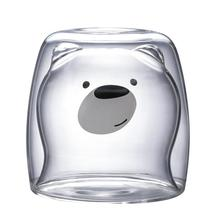 New 3D 2-tier Lovely Panda Bear Innovative Beer Glasses Heat-resistant Double Wall Coffee Cup Morning Milk Juice Glass