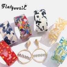 Flatfoosie Acrylic Fashion Bangle Bracelets For Women Leopar