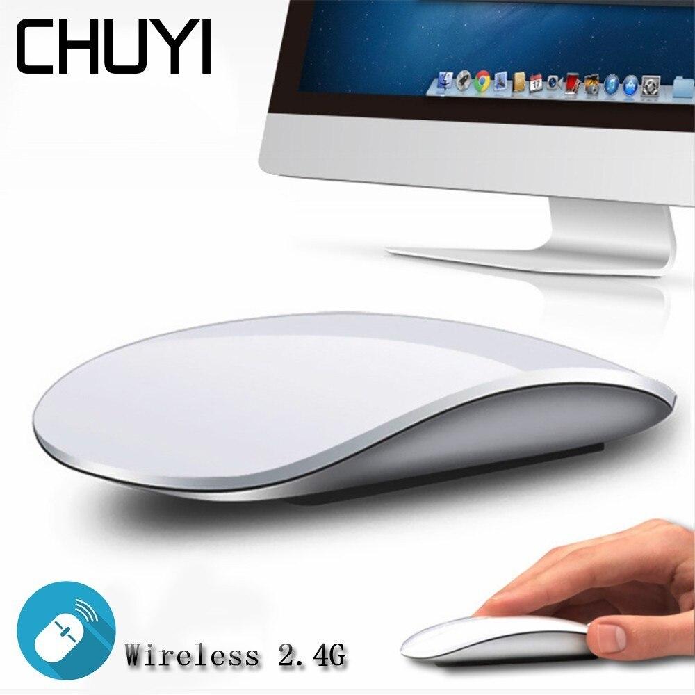 CHUYI Magic Mouse Sem Fio Toque de Rolagem Slim USB Optical mouse Computer Mouse Sem Fio Ultra Fino Para Apple Mac Laptop notebook
