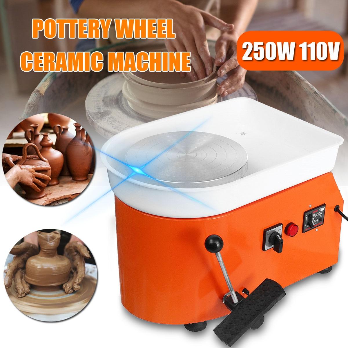 250 W poterie électrique roue 110 V/220 V poterie formant la Machine en céramique travail argile pour travaux pratiques outil avec plateau + pédale pour un usage domestique