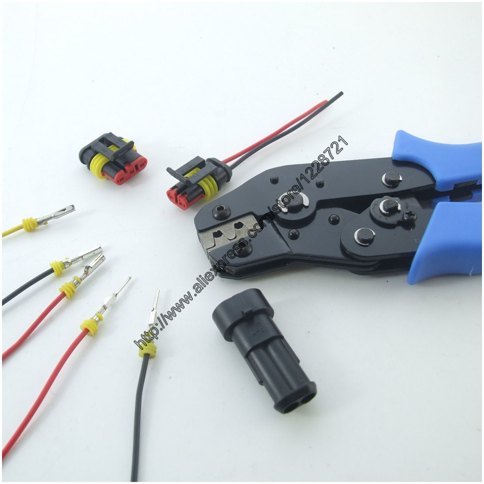 small resolution of amp automotive terminals superseal crimp tool pliers 5 kits 1 2 3 4 5 6 pin way waterproof wire connectors for car xenon lamp