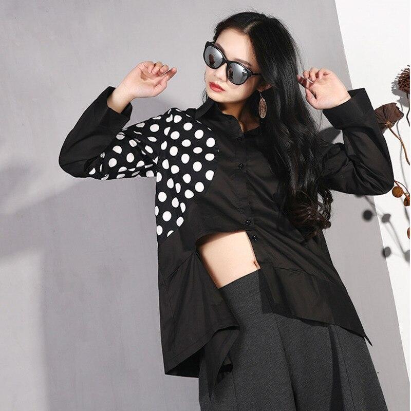 LANMREM 2019 Women Spring Summer Irregular Polka Dot Print Split Joint Shirt Fashion Loose Long Sleeve New Pattern Jacket YG121 4