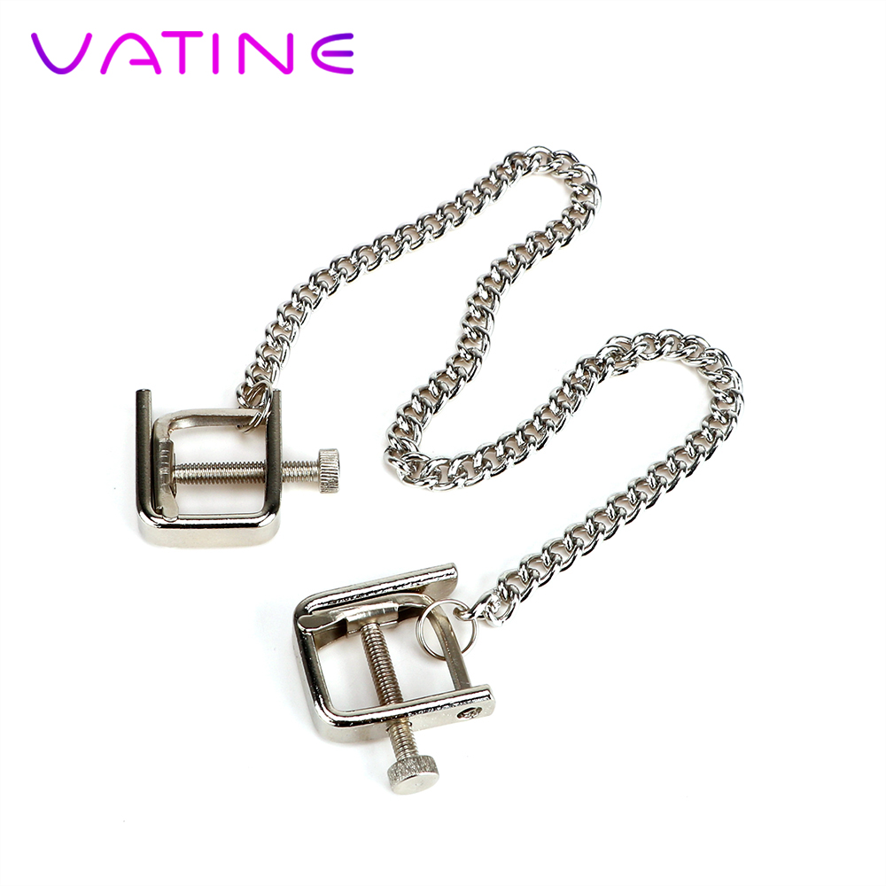 VATINE Stainless Steel Breast Nipple Clamps Clips Nipple Stimulator Metal Chain Erotic Sex Toys For Couple Adult Games