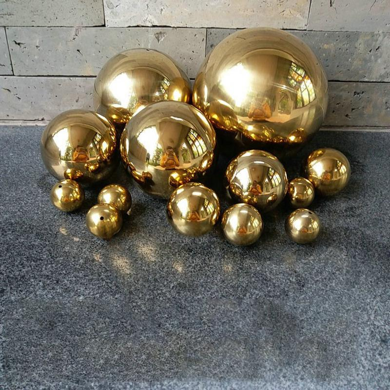 Gold Dia 25-300mm 304 Stainless Steel Hollow Ball Seamless Mirror Ball Sphere Home Yard Swimming Pool Decoration Ornaments