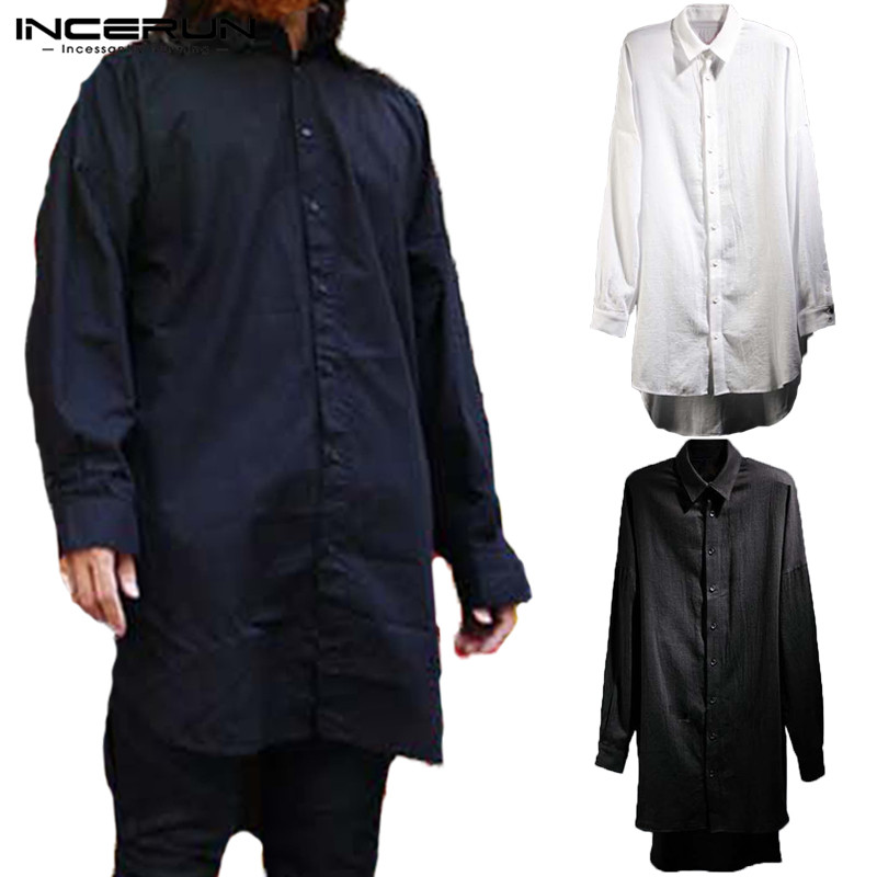 Normcore Style Cloak Hiphop Mens Shirts White Long Sleeve T Shirt Tops Lapel Neck Harajuku Male Casual Tee Camisas Kurta Hombre