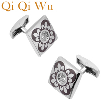 Qi Qi Wu Square Enamel Flower Cufflinks Mens Wedding Favors French Shirt Cuff Buttons Men Silver Arm Cuff links Christmas Gifts