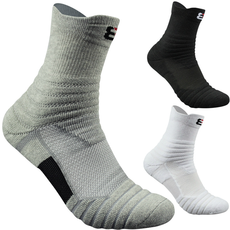 1Pairs Mens Professional Outdoor Sports Running Badminton Socks Male Thick Towel Cotton Basketball Socks Elite Sock