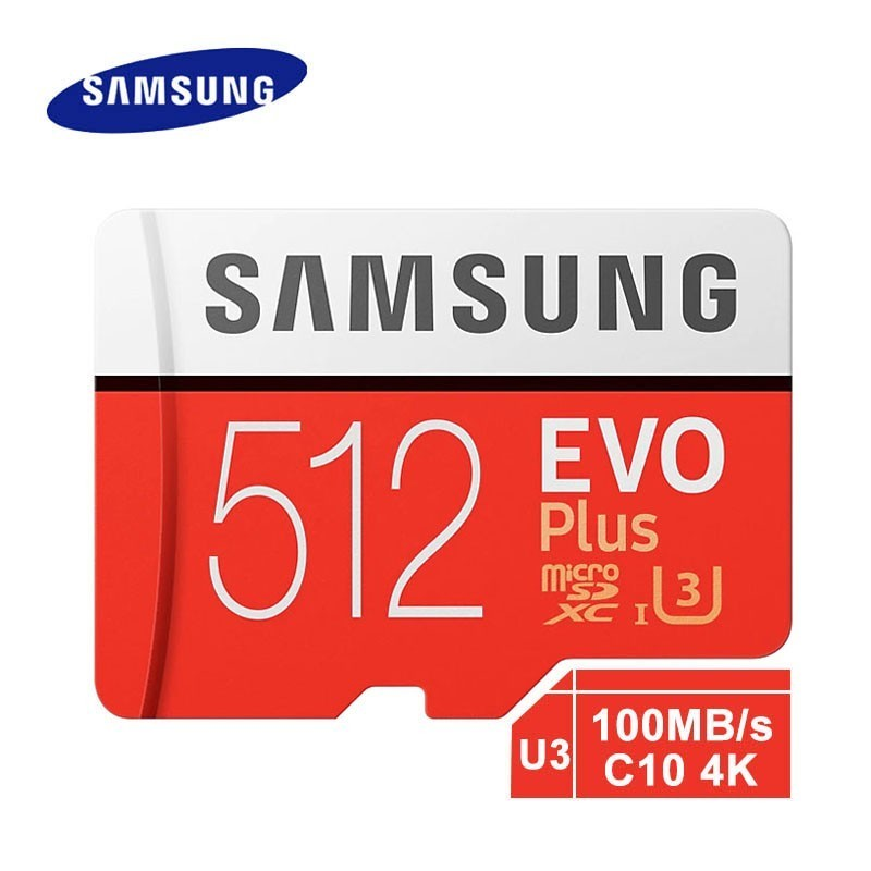 Carte mémoire Samsung Micro Sd Evo Plus 512 go Sdhc Sdxc Grade Class10 C10 Uhs-1 Tf cartes mémoire Flash 4 k Microsd