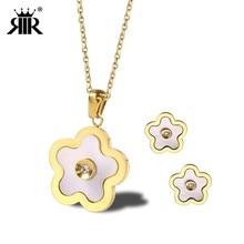 RIR Elegant Women Flower Shape Opal Necklace With Stud Earrings Jewellery Silver