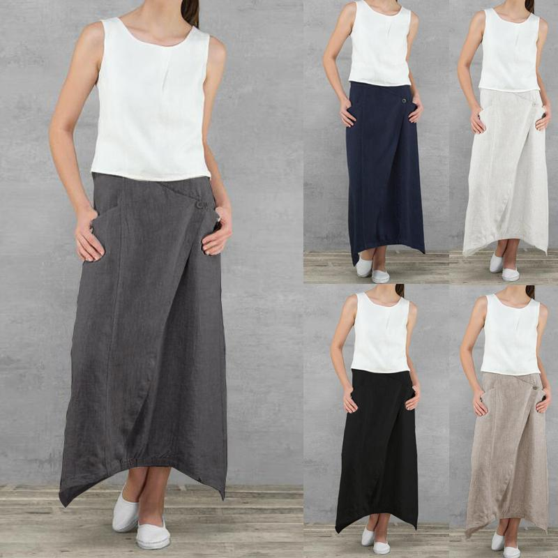 Chic Elegant Women Linen Straight Long Skirt Solid Color High Waist  2019 Spring Summer Japanese Maxi Cotton Jupe Button Female