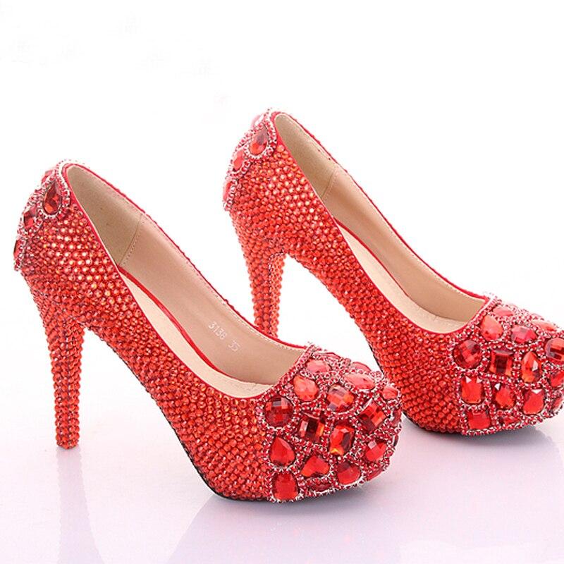 Boîte Chaussures Heels Nuit Heels Red red 14cm Mariée Graduation Scène 10cm Parti Hauts Mariage pink Plate forme Diamant Heels 12cm Bal De Talons Cristal ETqwvxZz