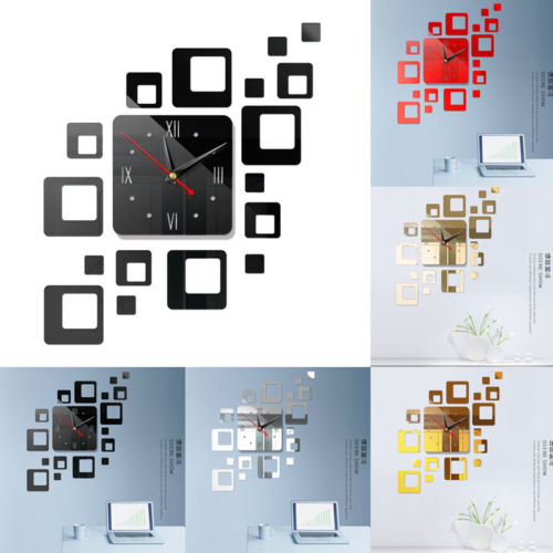 Американский современный большой 3D зеркальная поверхность настенные часы стикер домашний офис комната DIY Декор