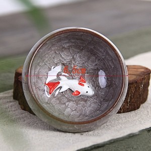 Image 2 - 1 Pcs Crackle Glazuur Vis Thee Cup Draagbare Keramische Theekopje Kung Fu Thee Set China Kung Fu Thee Set Keramische cup