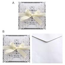 10PCS European Style Peacock Lace Invitation Cutout Wedding High-end With A Bowknot Decoration Holiday Supplies