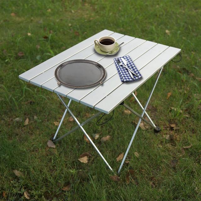 อลูมิเนียมพับได้โต๊ะOutdoor Campingชุดสวนกลางแจ้งตารางแบบพกพาโต๊ะ