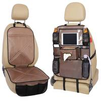 Universal Multifunction Car Storage bag Car Seat Mat Mesh Net Bag leather Organizer Car Seat Back Holder Bag Foldable Shelf