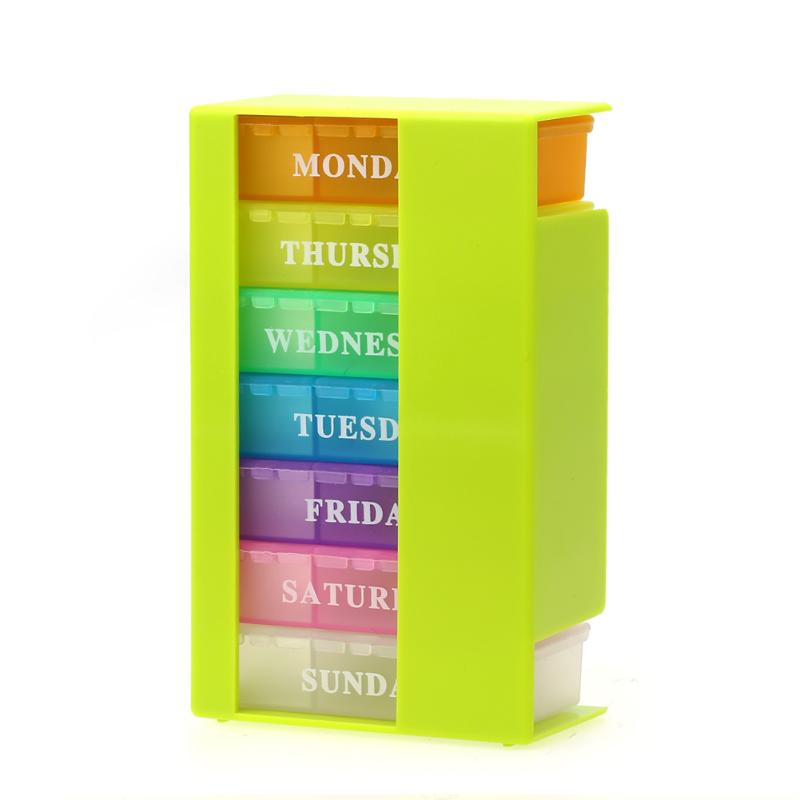 Красочная коробка для таблеток на 7 дней на неделю, органайзер для хранения лекарств, держатель для лекарств в виде капсулы, контейнер для та...