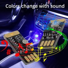 Car USB LED DC 5V Music Playing Dimmable Light Atmospher Decorative Lamp Lighting Portable Plug and Play RGB Voice Activated
