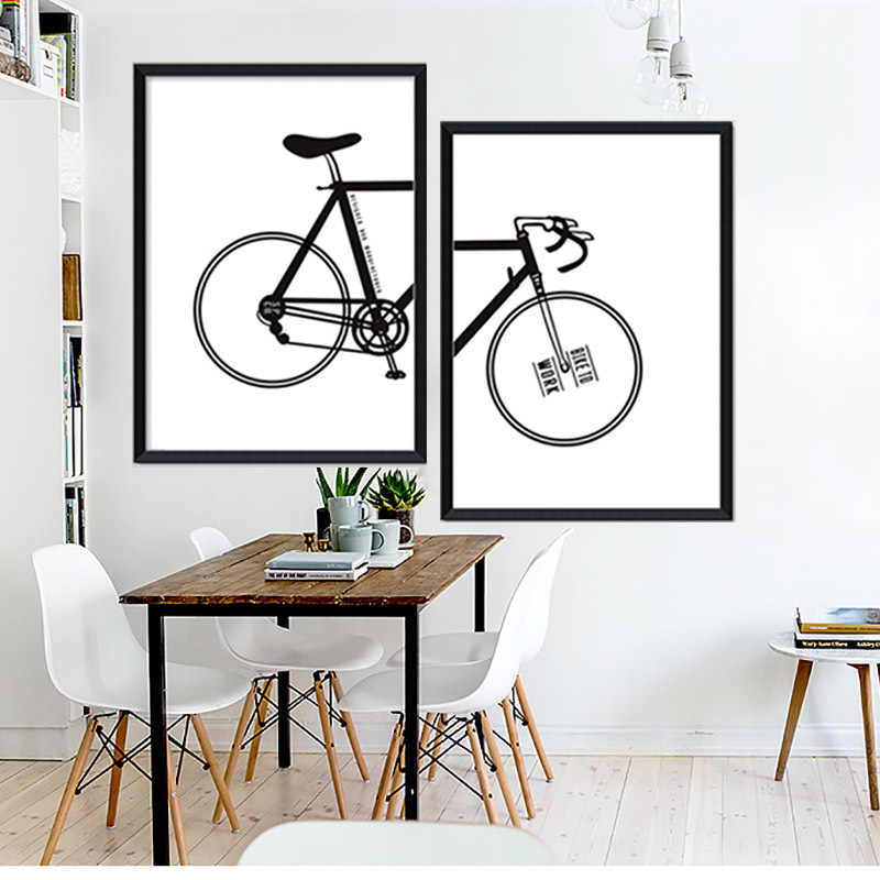 Nordic Decoration Black Bike Posters And Prints Poster Wall Art Canvas Painting Bicycle Wall Pictures For Living Room Unframed