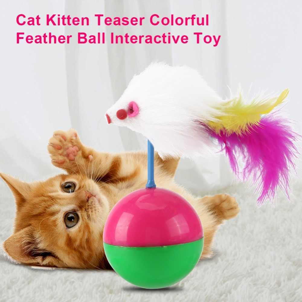 Nuevo juguete de broma Gato para gatos, bola colorida de plumas, divertido juego de juego interactivo