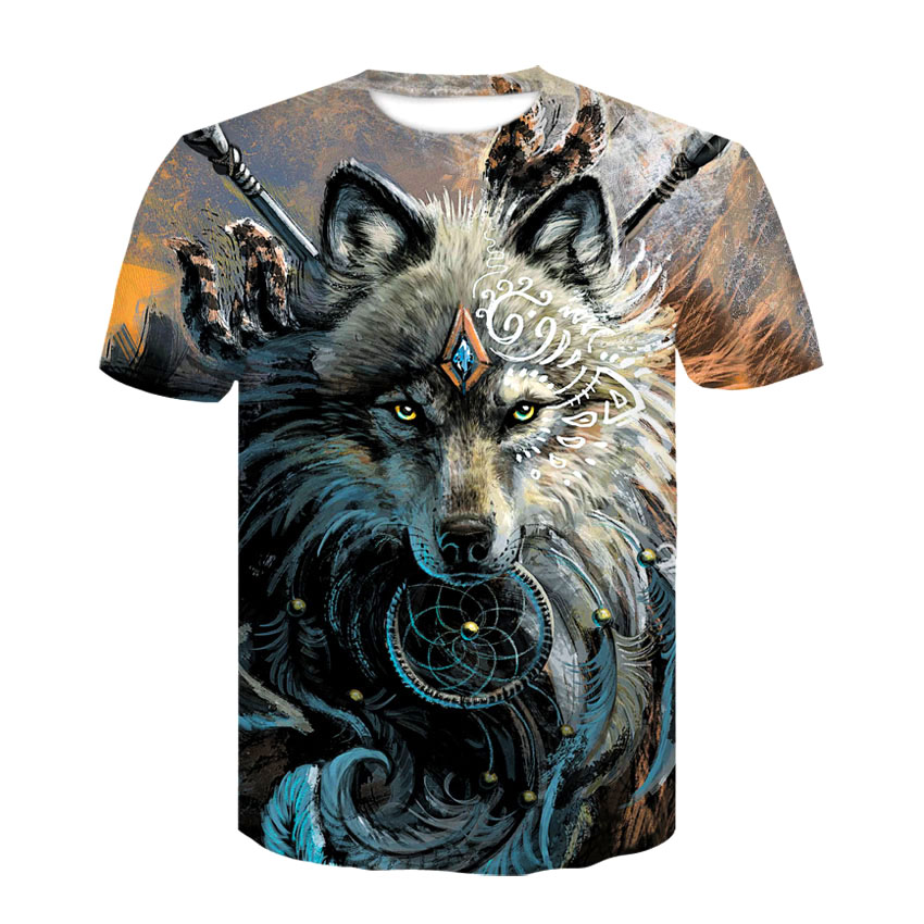 Wolf Warrior by SunimaArt 3D   T     shirts   Men   T  -  shirts   New Design Drop Ship Tops Tees Short Sleeve Tshirt Camiseta Summer Animal