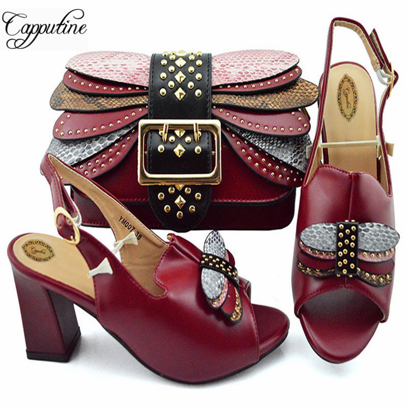New Arrival Italian Ladies Shoes And Matching Bags Set African Style Pumps 8CM Shoes And Bag For Party Size 38-43 YM007New Arrival Italian Ladies Shoes And Matching Bags Set African Style Pumps 8CM Shoes And Bag For Party Size 38-43 YM007
