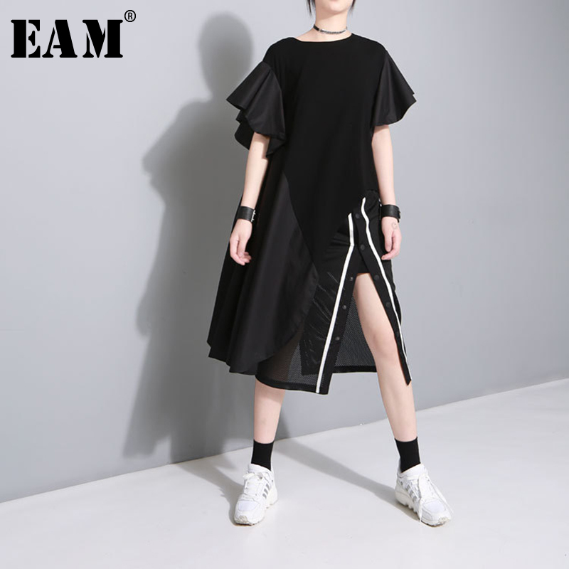 [EAM] 2020 New Spring Summer Round Neck Short Sleeve Black Loose Ruffles Split Joint Irregular T-shirt Women Fashion Tide JU173