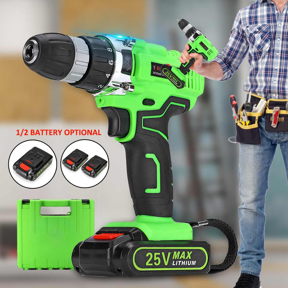 25V Electric Screwdriver Power Screw 2-Speed Electric Cordless Drill 3/8 Driver Rechargeable Li-Ion 1/2 Batteries Home DIY Tool25V Electric Screwdriver Power Screw 2-Speed Electric Cordless Drill 3/8 Driver Rechargeable Li-Ion 1/2 Batteries Home DIY Tool