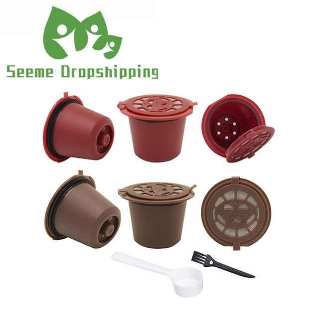 4PCS Nespresso Refillable Reusable Nespresso Coffee Capsule 20ML Filters Reutilisable Coffee Capsule Nespresso Cups Spoon Brush