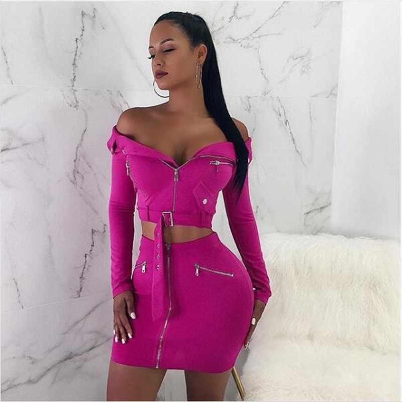 ... Feditch Off Shoulder Bodycon Dress Women Hot Long Sleeve Women Two  Piece Dresses Strapless Party Dresses ... 1abaf7b7b10d