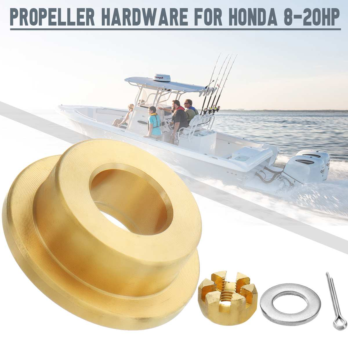 Propeller Hardware Kits Thrust Washer Spacer Nut Cotter Pin Brass For Honda 8-20HP Outboard Engine Boat Parts & Accessories