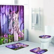 Комплект душевой занавески с принтом тигра водостойкая зеркальная