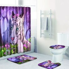 Tiger Printed Shower Curtain Set Bathroom Psychedelic Waterproof Bath Curtain Polyester Bathroom Curtain Toilet Cover Bath Mats