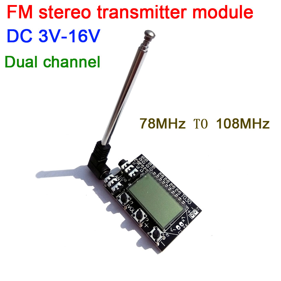 Digital LCD Dual channel FM stereo transmitter wireless audio transmission frequency 76MHz--108MHz + antenna dc 3v-16v Digital LCD Dual channel FM stereo transmitter wireless audio transmission frequency 76MHz--108MHz + antenna dc 3v-16v