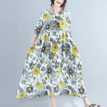 #0220 Summer Oversized Loose Retro Floral Print Cotton Linen Dress Women Short Sleeve Vintage Clothes Plus Size