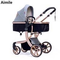 Aimile детская коляска 2 в 1 Высокое пейзаже Multifunctionc может сидеть или лежать складной четыре сезона Россия бесплатная доставка