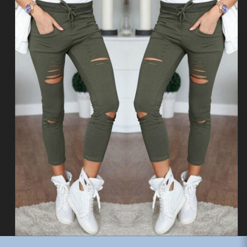 Women Skinny Hollow Out Solid Color Pants High Waist Stretch Slim Pencil Trousers