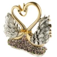 Elegant Golden Swan Couple Lover Birds Resin Statue Figurine Sculpture Handicrafts for Home Living Room Decor