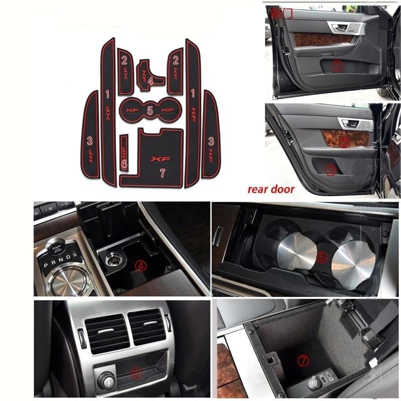 10pcs/set Car Sticker Styling Car Door Rubber Non-slip Cup Mat Holder Gate Slot Pad For Jaguar XF 2011--2015 Car Accessories