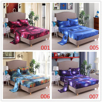 3D Print Bedding Set Modern Galaxy Flat Sheet 40cm Fitted Sheet+bed Sheets+Pillowcase Starry Sky Bedclothes Full Size19